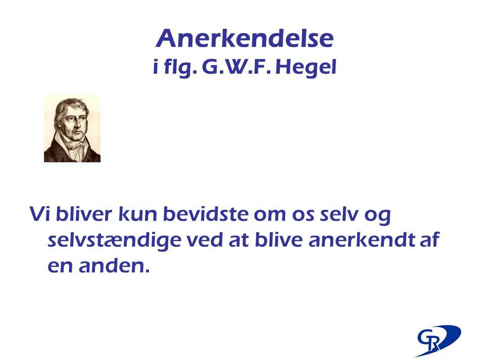 Anerkendelse i flg. G.W.F. Hegel