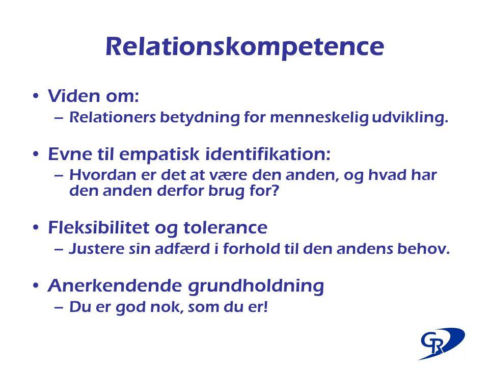 Relationskompetence Viden om: Evne til empatisk identifikation: