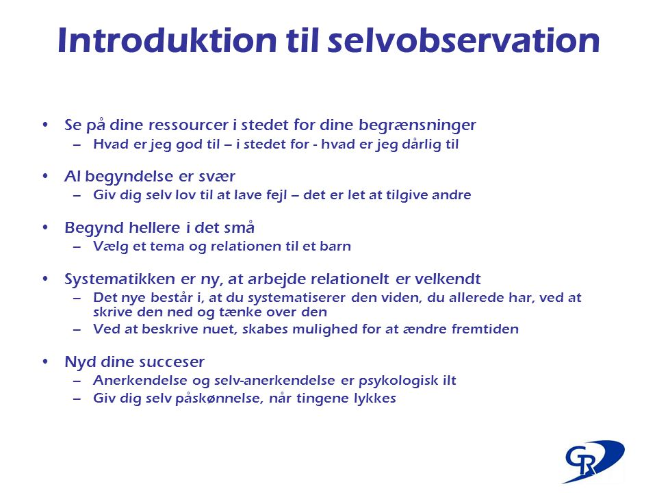 Introduktion til selvobservation