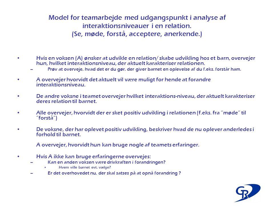Model for teamarbejde med udgangspunkt i analyse af interaktionsniveauer i en relation. (Se, møde, forstå, acceptere, anerkende.)