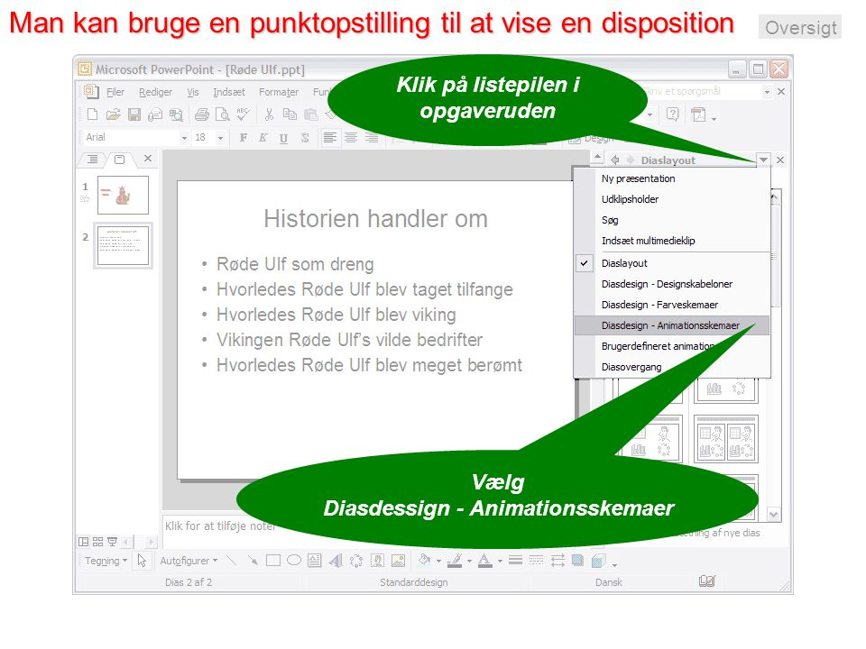 Man kan bruge en punktopstilling til at vise en disposition