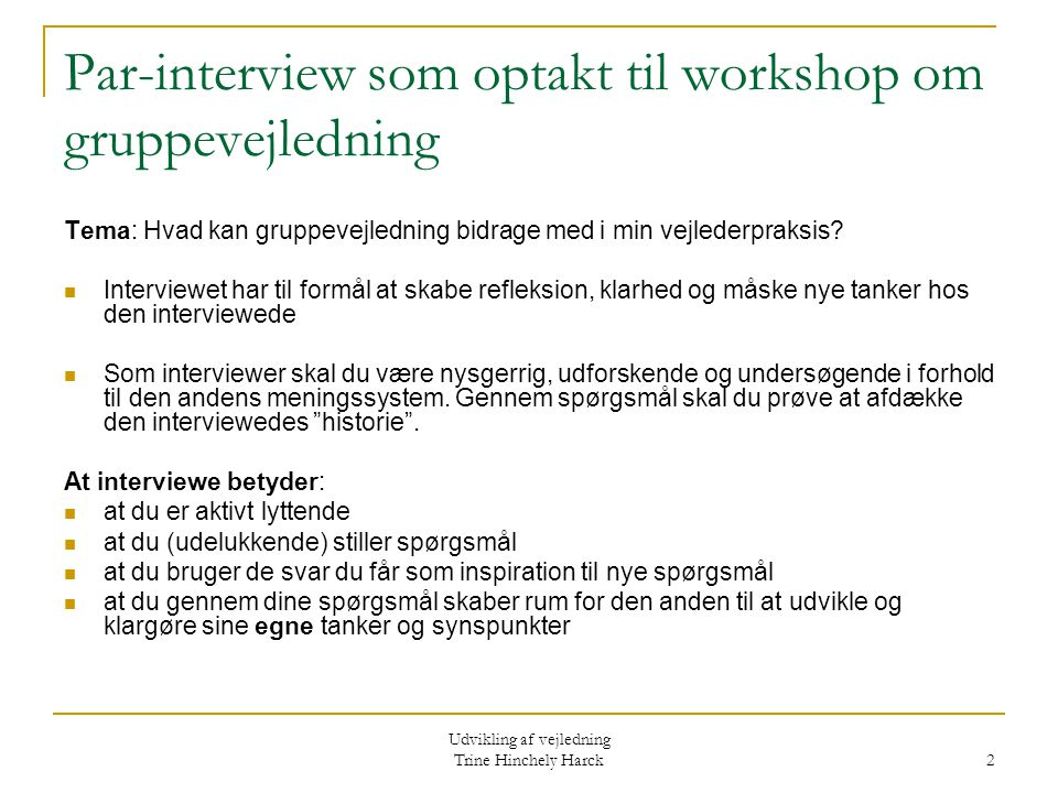 Par-interview som optakt til workshop om gruppevejledning