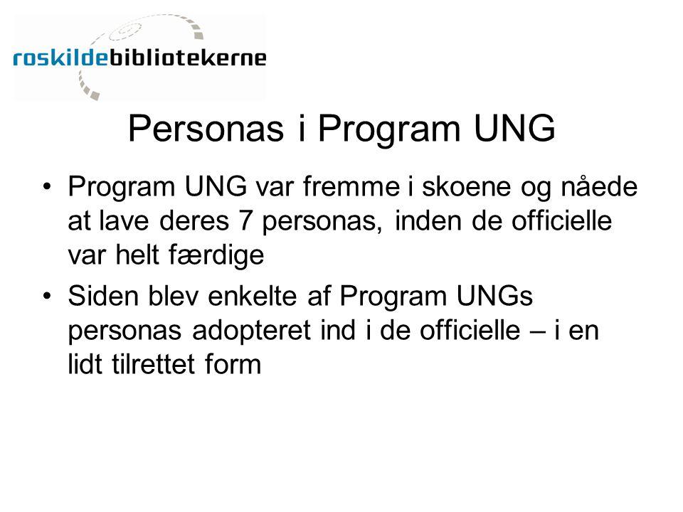Personas i Program UNG Program UNG var fremme i skoene og nåede at lave deres 7 personas, inden de officielle var helt færdige.