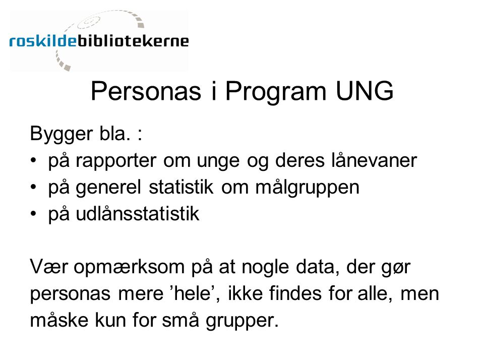Personas i Program UNG Bygger bla. :