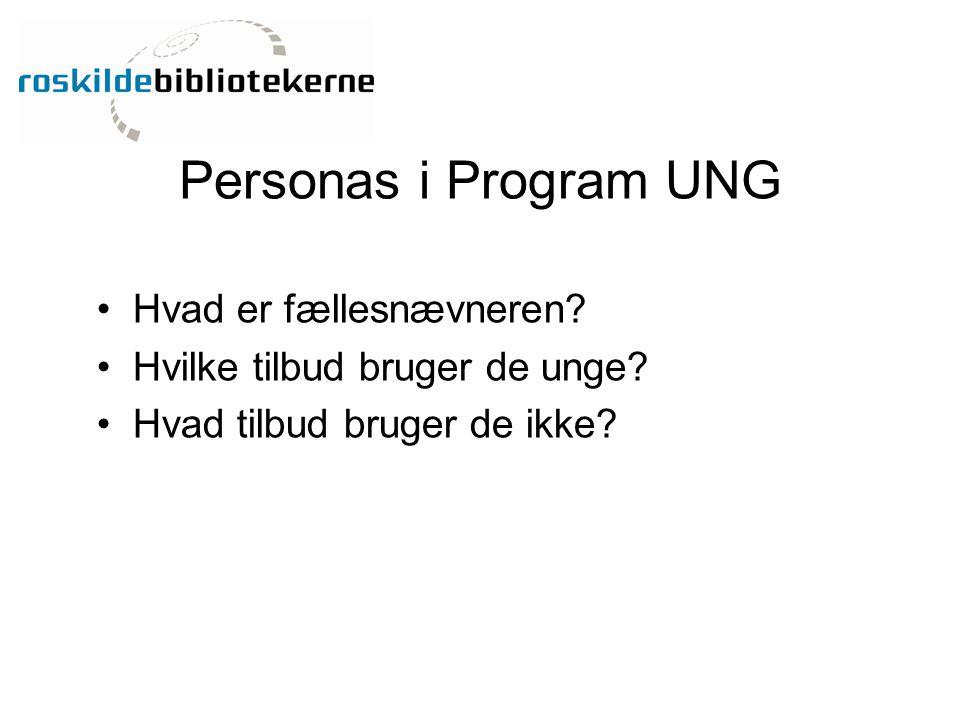 Personas i Program UNG Hvad er fællesnævneren