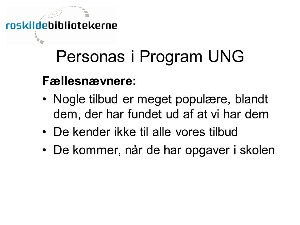 Personas i Program UNG Fællesnævnere: