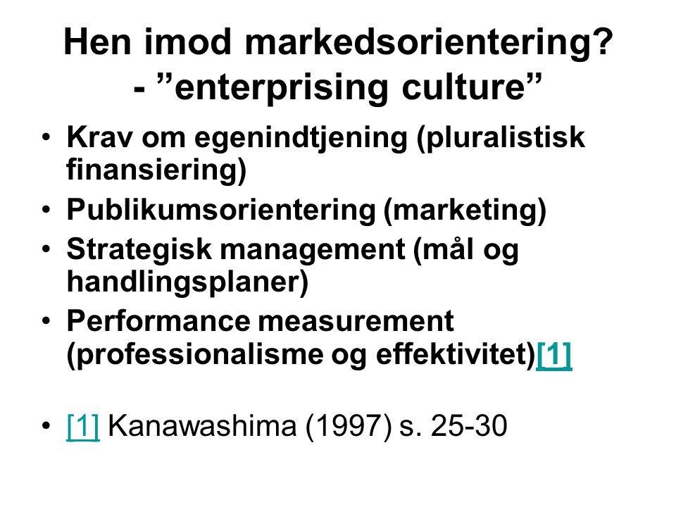 Hen imod markedsorientering - enterprising culture