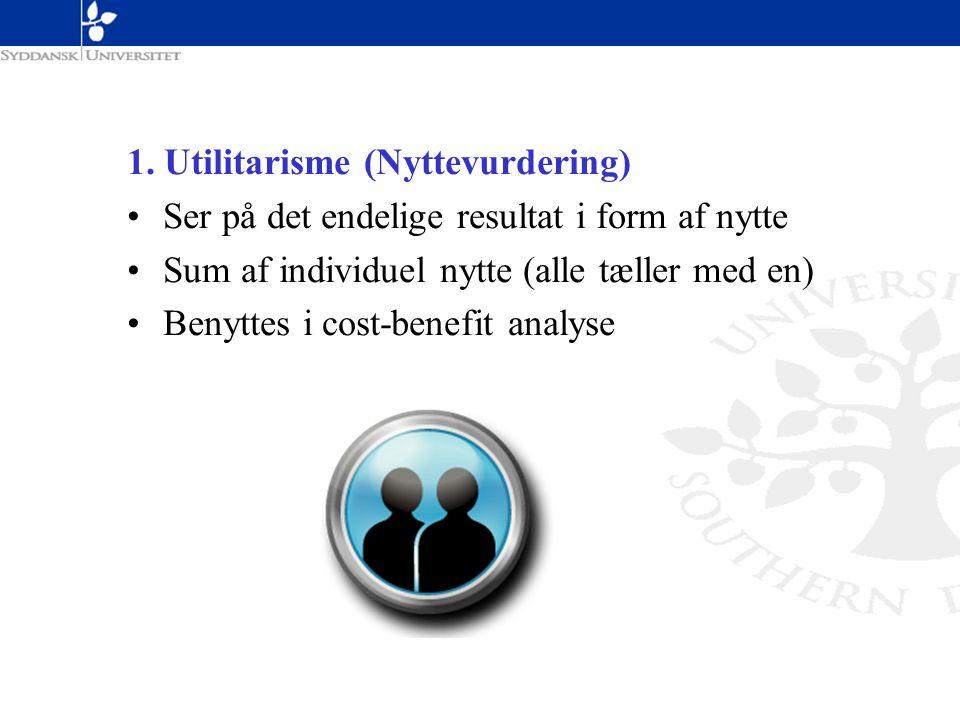 1. Utilitarisme (Nyttevurdering)