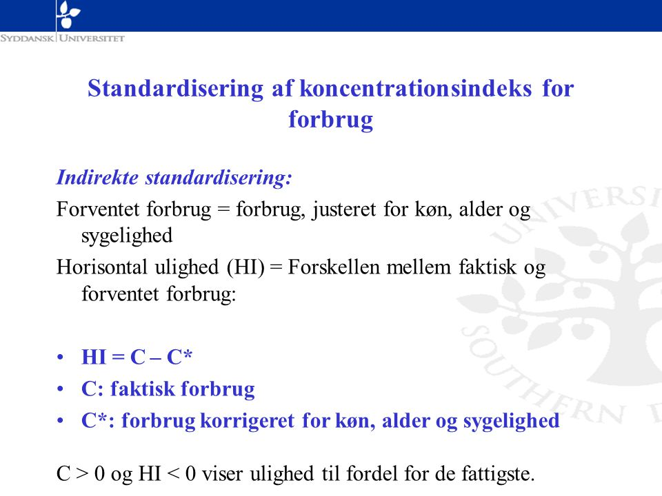 Standardisering af koncentrationsindeks for forbrug