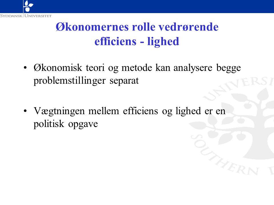 Økonomernes rolle vedrørende efficiens - lighed