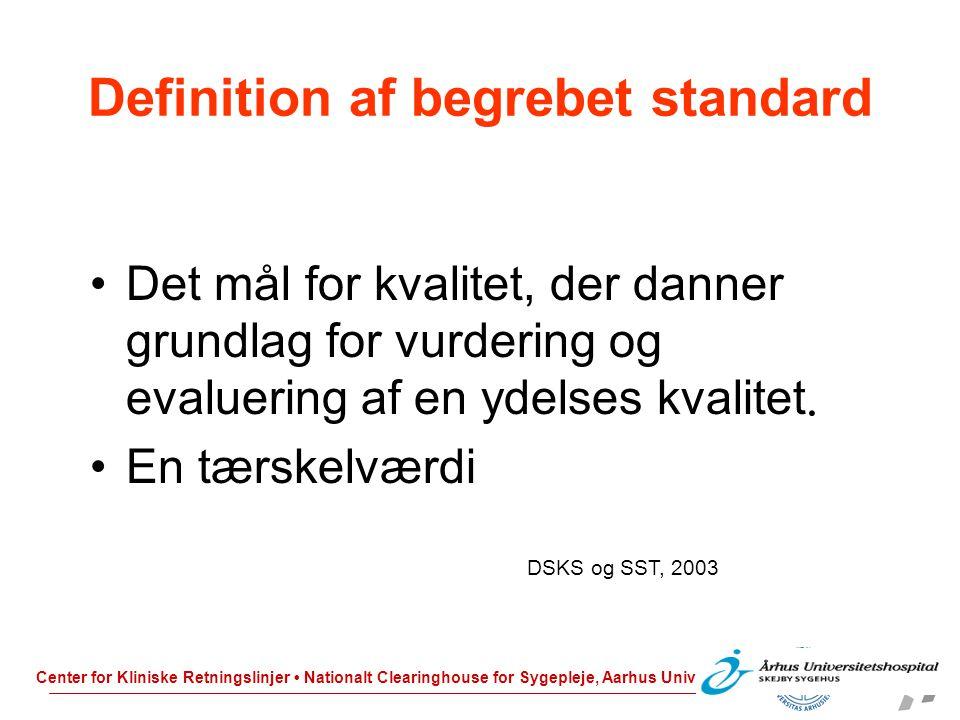 Definition af begrebet standard