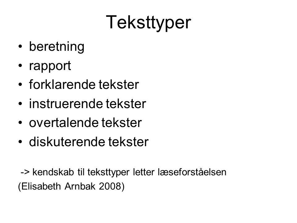 Teksttyper beretning rapport forklarende tekster instruerende tekster