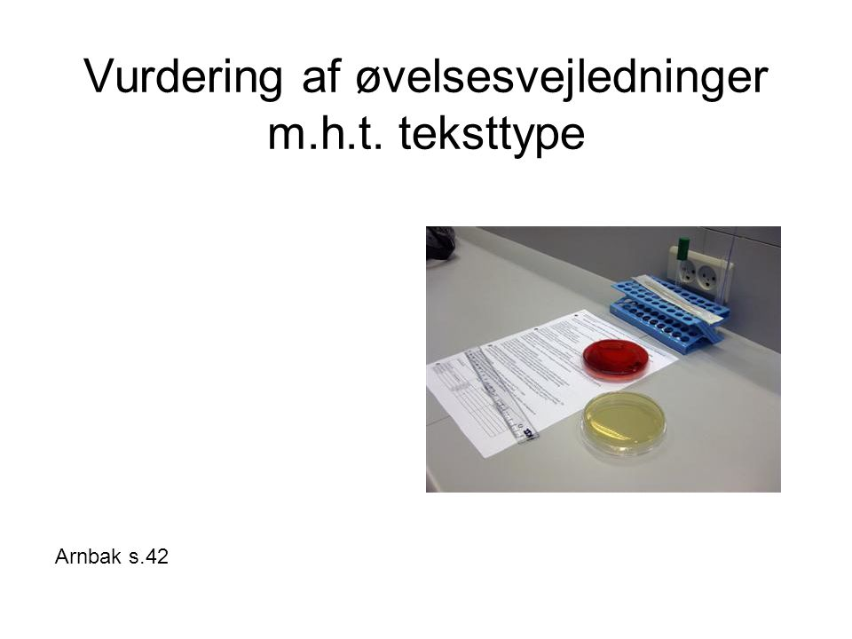 Vurdering af øvelsesvejledninger m.h.t. teksttype