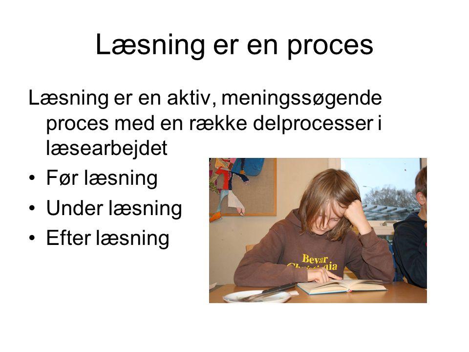 Læsning er en proces Læsning er en aktiv, meningssøgende proces med en række delprocesser i læsearbejdet.