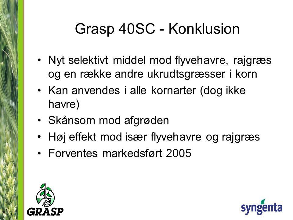 Grasp 40SC - Konklusion Nyt selektivt middel mod flyvehavre, rajgræs og en række andre ukrudtsgræsser i korn.