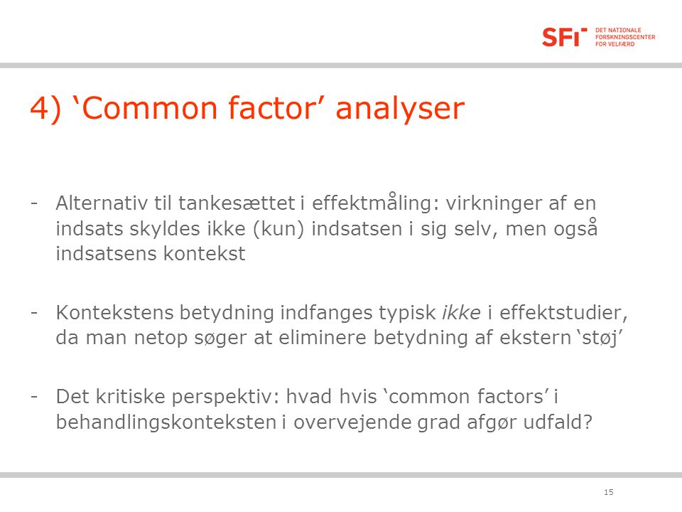 4) 'Common factor' analyser