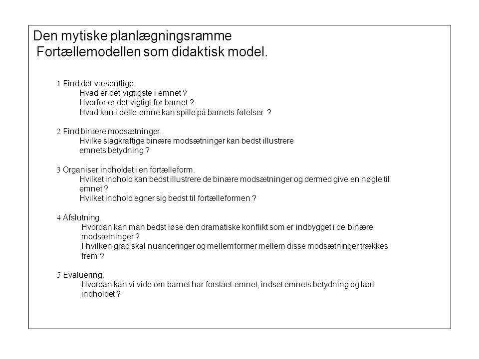 Den mytiske planlægningsramme Fortællemodellen som didaktisk model.