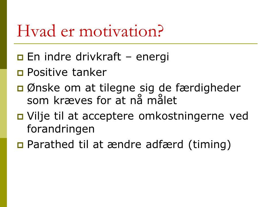 Hvad er motivation En indre drivkraft – energi Positive tanker