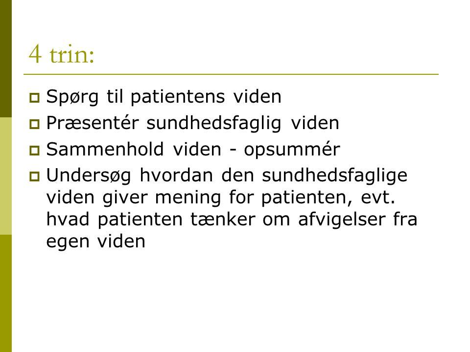 4 trin: Spørg til patientens viden Præsentér sundhedsfaglig viden