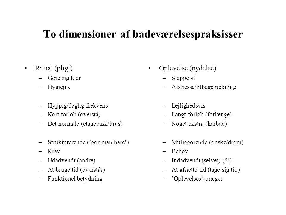 To dimensioner af badeværelsespraksisser