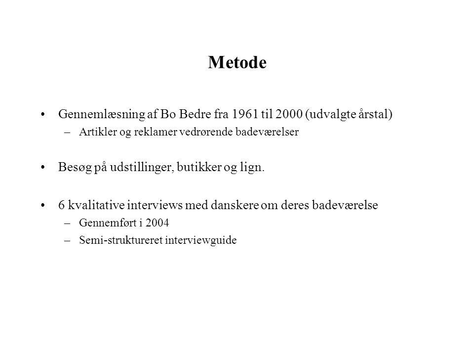 Metode Gennemlæsning af Bo Bedre fra 1961 til 2000 (udvalgte årstal)