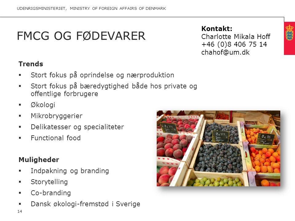 FMCG og Fødevarer Kontakt: Charlotte Mikala Hoff +46 (0)8 406 75 14