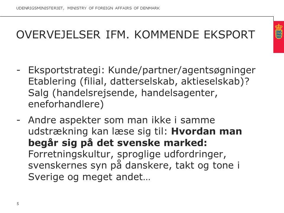 Overvejelser ifm. kommende eksport