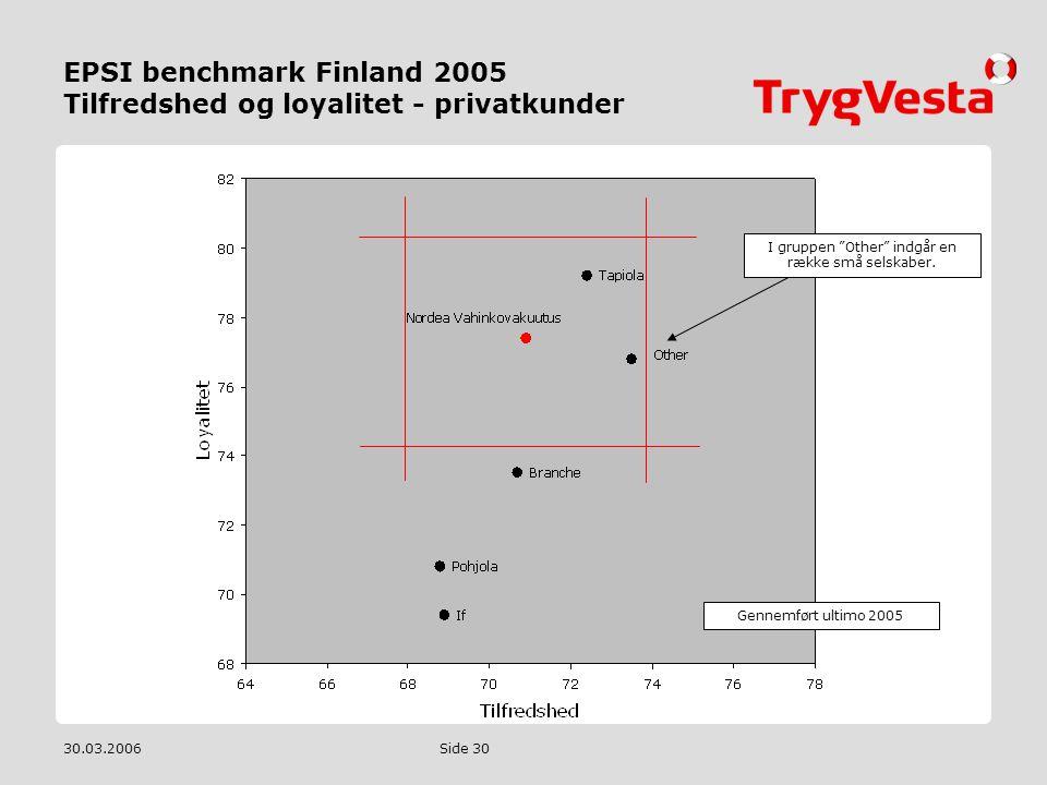 EPSI benchmark Finland 2005 Tilfredshed og loyalitet - privatkunder