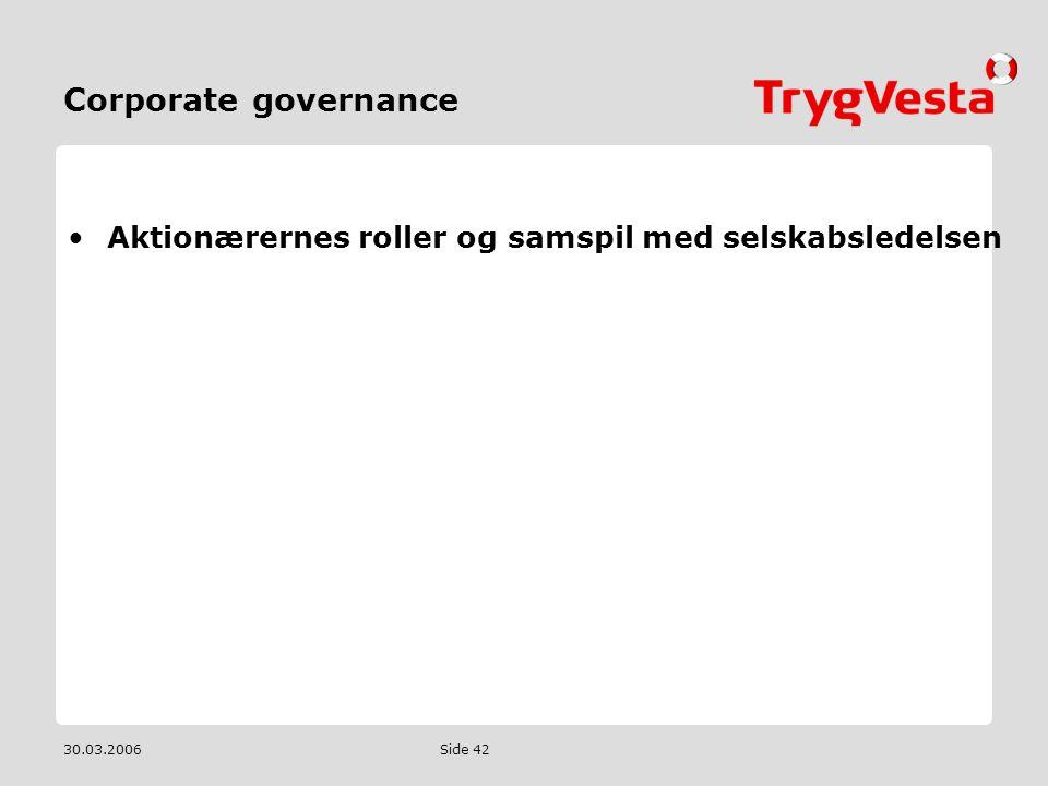 Corporate governance Aktionærernes roller og samspil med selskabsledelsen 30.03.2006