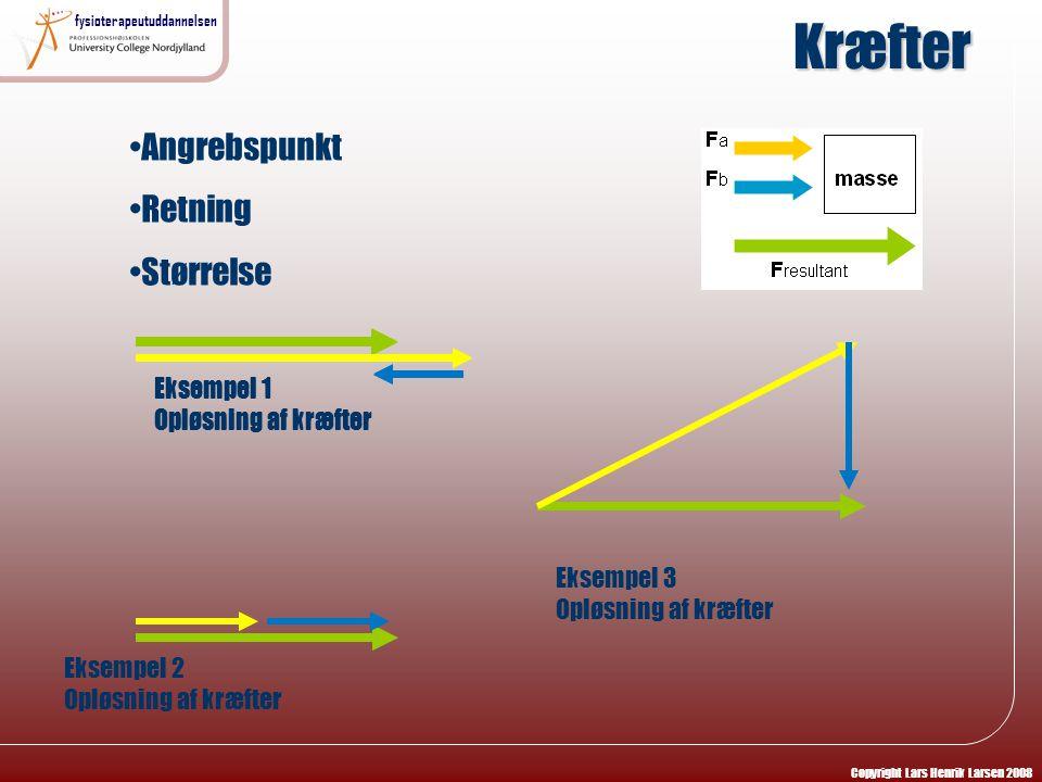 Kræfter Angrebspunkt Retning Størrelse Eksempel 1 Opløsning af kræfter