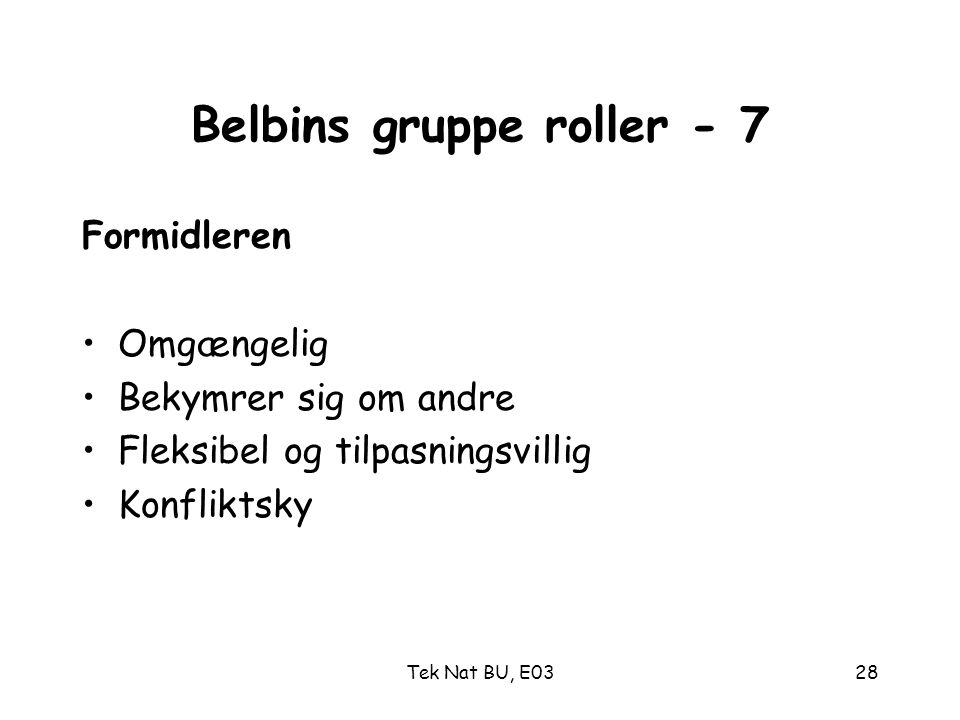 Belbins gruppe roller - 7