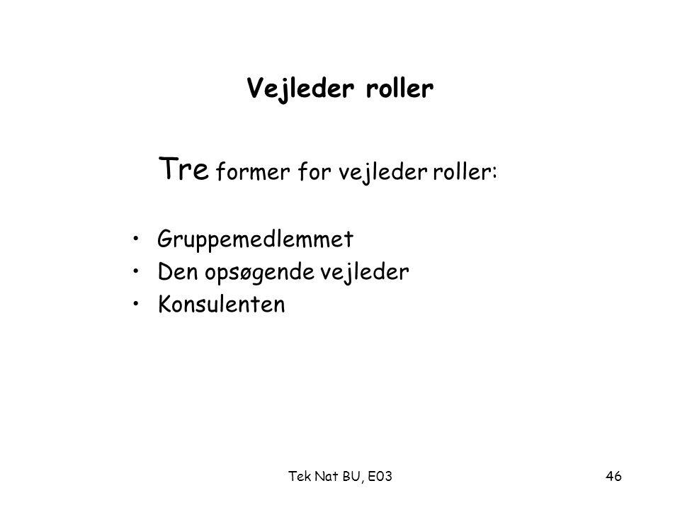 Tre former for vejleder roller: