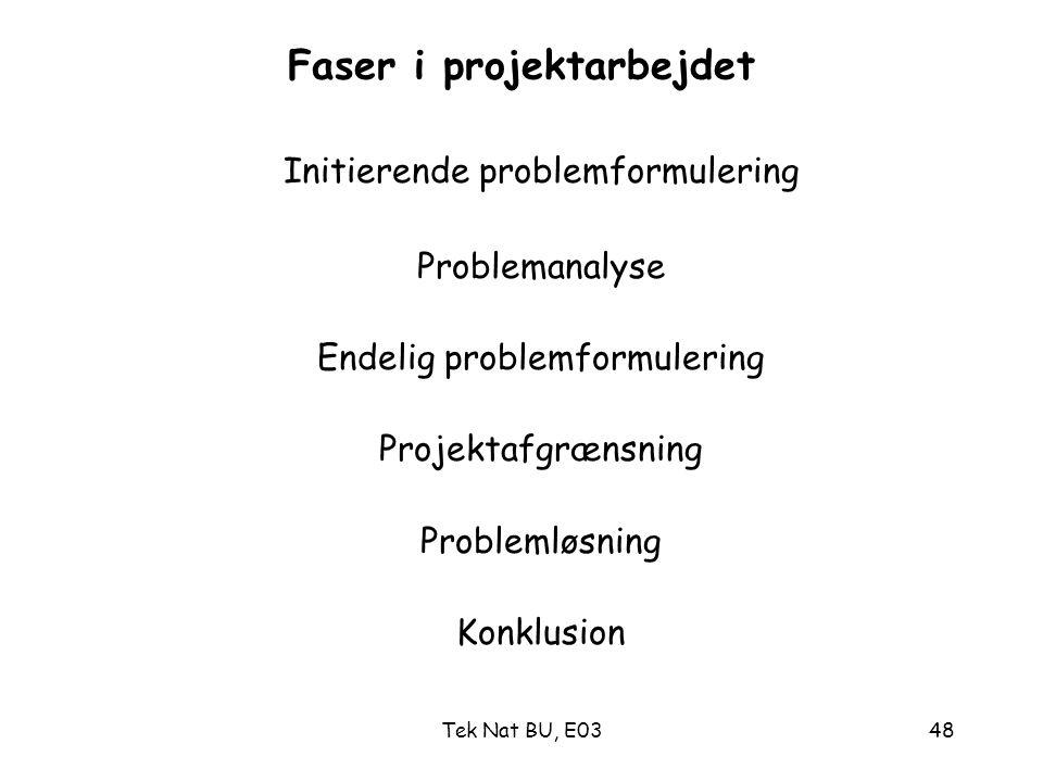 Faser i projektarbejdet