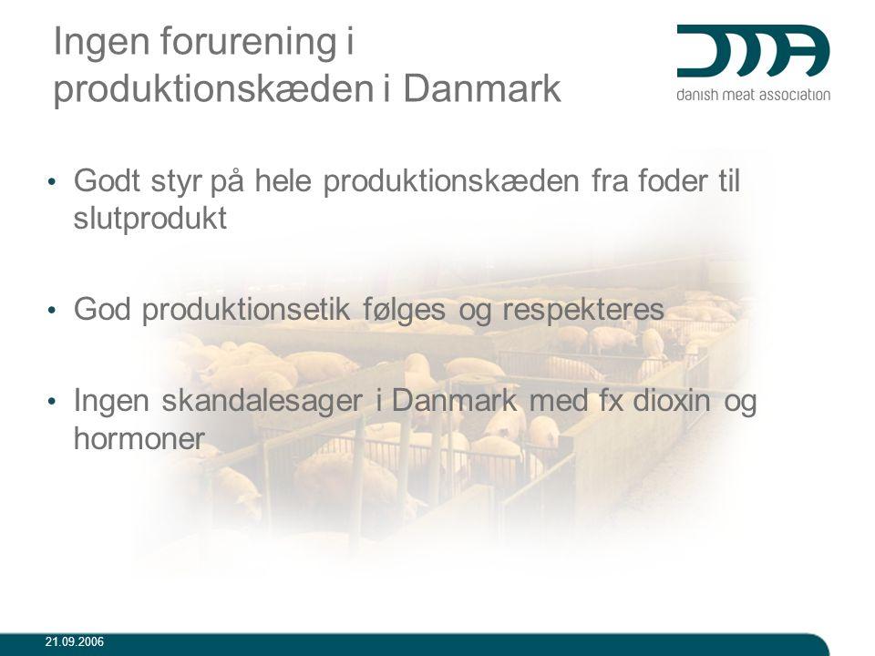 Ingen forurening i produktionskæden i Danmark
