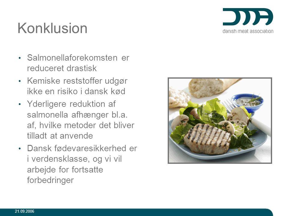 Konklusion Salmonellaforekomsten er reduceret drastisk