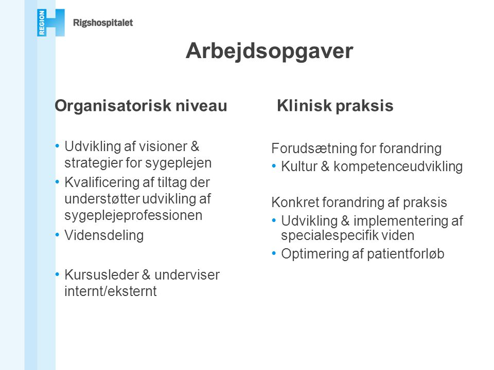 Arbejdsopgaver Organisatorisk niveau Klinisk praksis