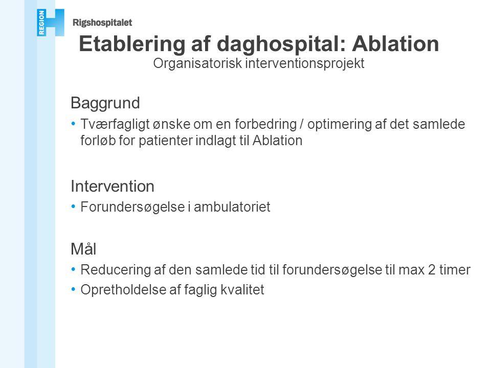 Etablering af daghospital: Ablation Organisatorisk interventionsprojekt