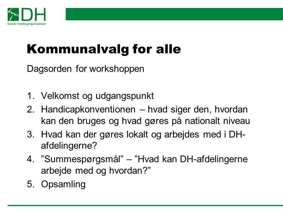 Kommunalvalg for alle Dagsorden for workshoppen
