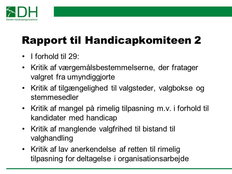 Rapport til Handicapkomiteen 2