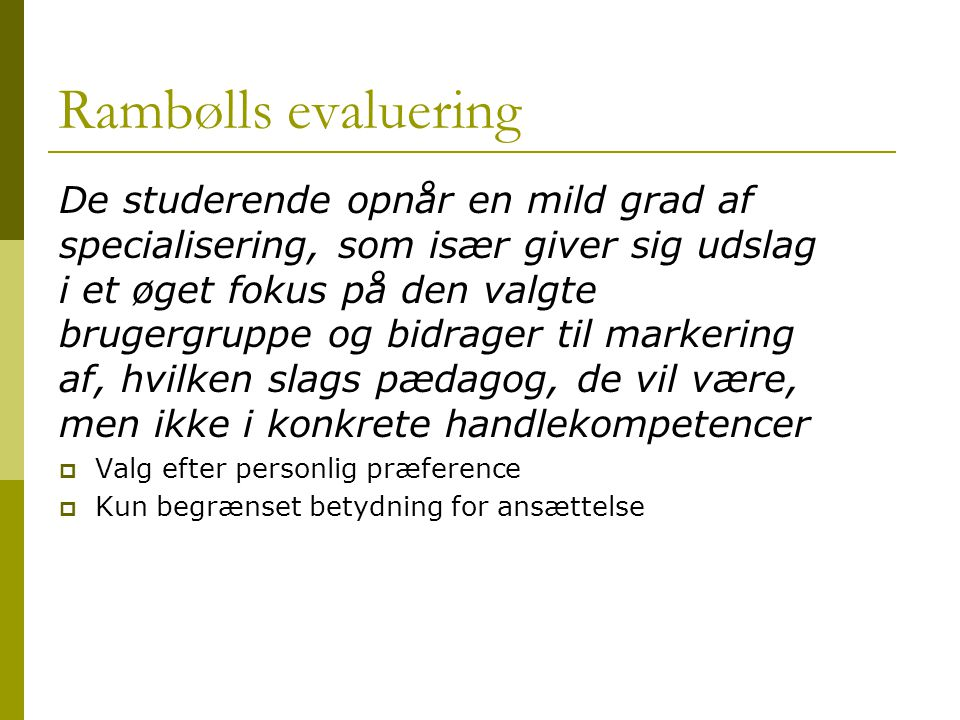 Rambølls evaluering