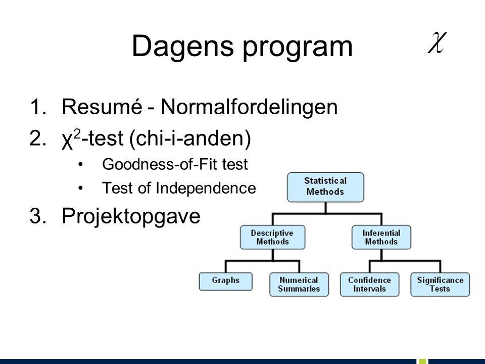 Dagens program Resumé - Normalfordelingen χ2-test (chi-i-anden)