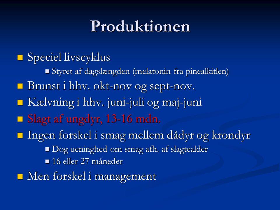 Produktionen Speciel livscyklus Brunst i hhv. okt-nov og sept-nov.