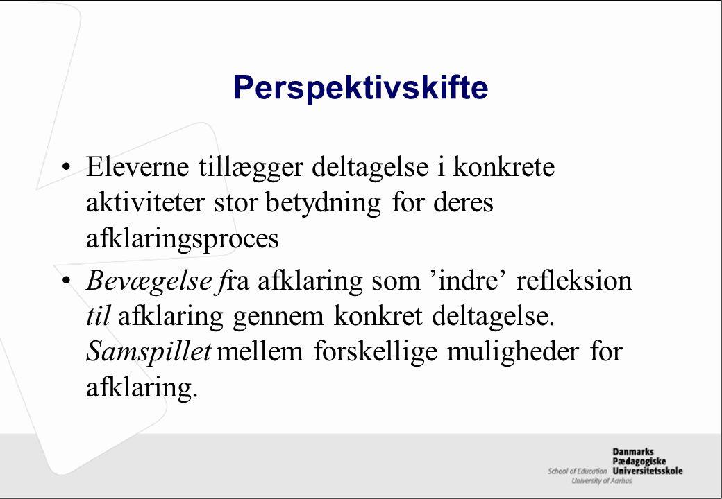 Perspektivskifte Eleverne tillægger deltagelse i konkrete aktiviteter stor betydning for deres afklaringsproces.