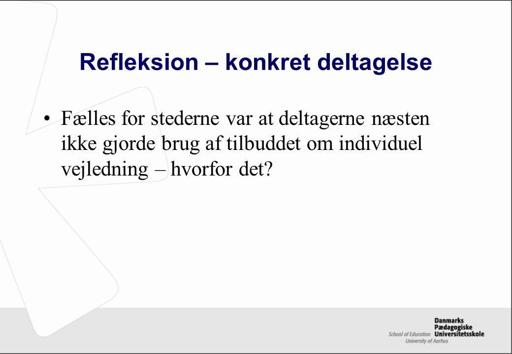 Refleksion – konkret deltagelse