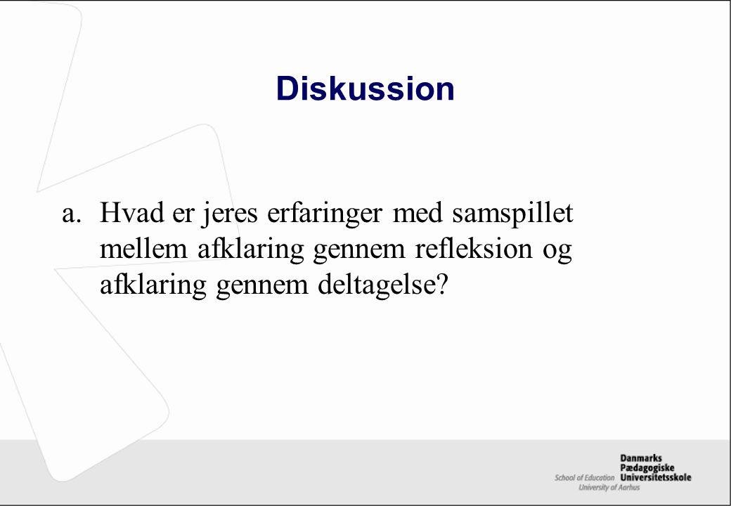 Diskussion Hvad er jeres erfaringer med samspillet mellem afklaring gennem refleksion og afklaring gennem deltagelse