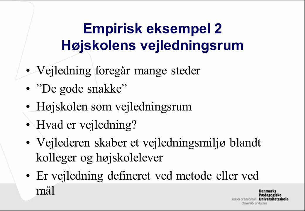 Empirisk eksempel 2 Højskolens vejledningsrum