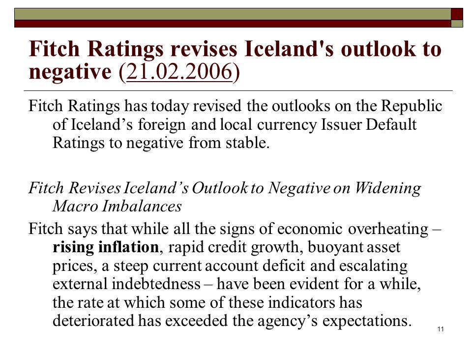 Fitch Ratings revises Iceland s outlook to negative (21.02.2006)