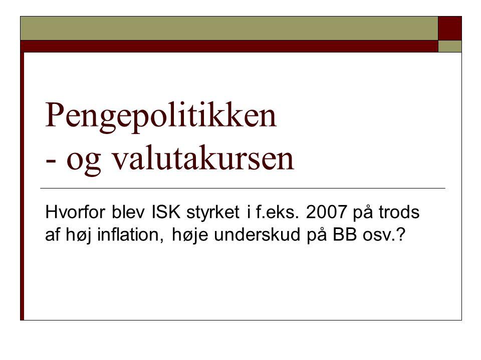Pengepolitikken - og valutakursen
