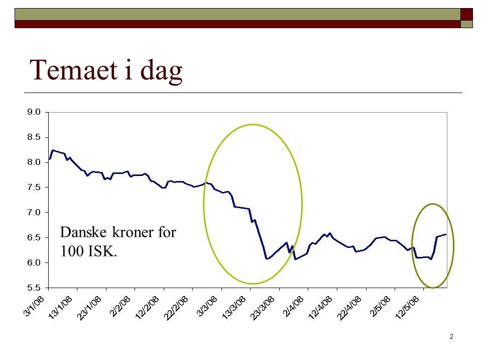 Temaet i dag Danske kroner for 100 ISK.