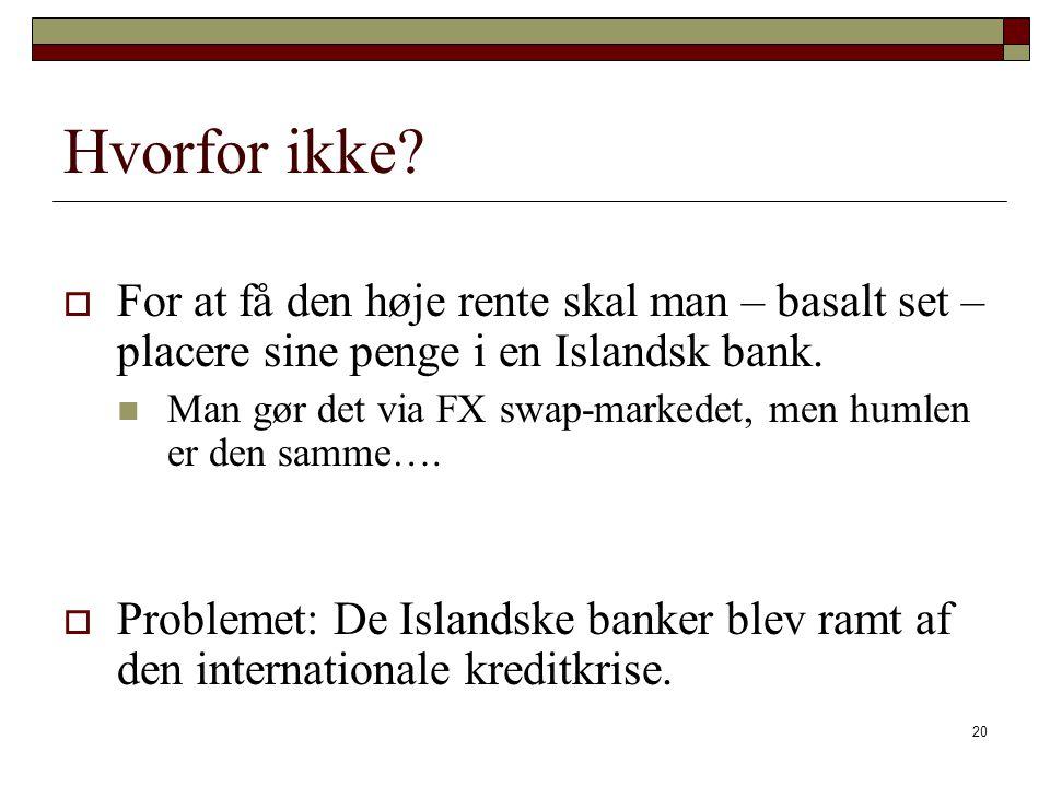 Hvorfor ikke For at få den høje rente skal man – basalt set – placere sine penge i en Islandsk bank.